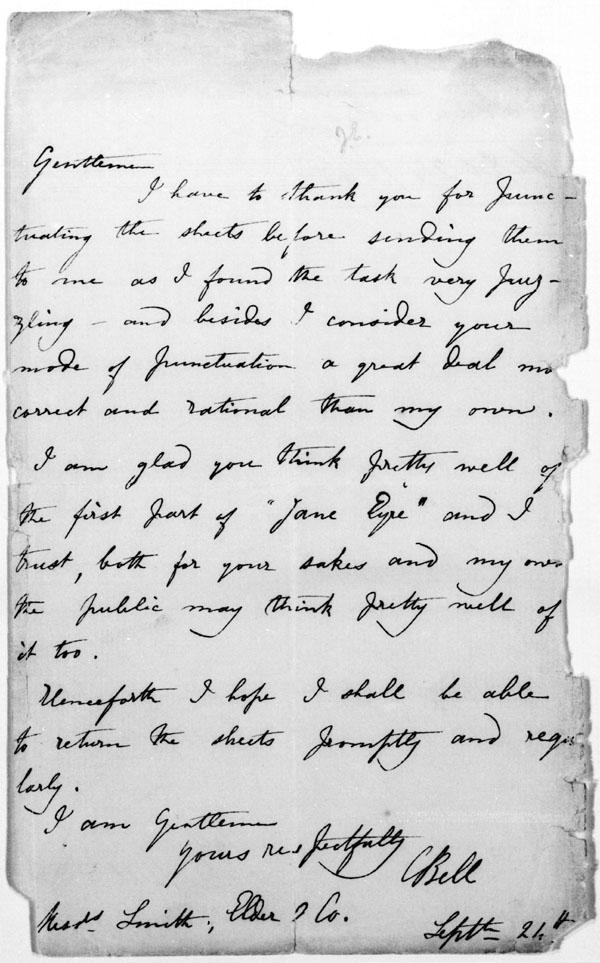 charlotte bronte essays letters Here's a sampling of passages and quotes by charlotte brontë on her writing life, starting with a query letter she wrote to  jane eyre by charlotte bronte:.
