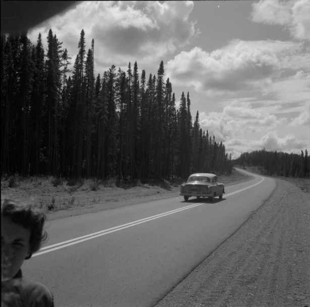 Audrey James by the Trans Canada Highway. 1954. Credit: Rosemary Gilliat. Source: Library and Archives Canada
